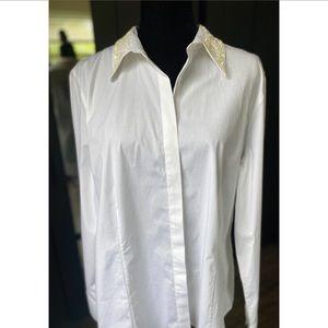 Talbots White button down Sequin collar shirt NWT